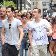 Penn Badgley et Ed Westwick en duo sur le tournage de Gossip Girl à New York le 21/08/2012