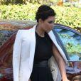 Kim Kardashian sur son 31 et son neveu Mason se rendent à l'église Life Change Community à Agoura Hills pour assister à la messe. Le 26 août 2012.