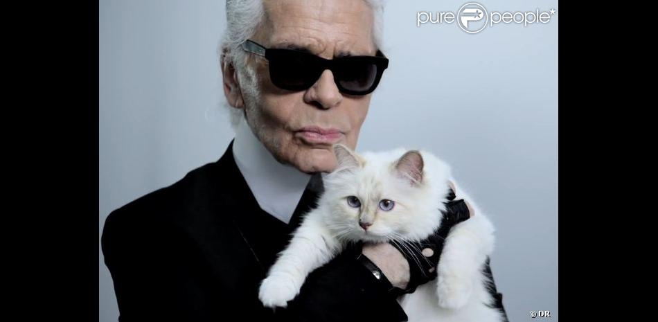 karl lagerfeld et son chat choupette posent pour net a porter purepeople. Black Bedroom Furniture Sets. Home Design Ideas