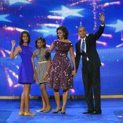 Barack Obama avec Michelle et leurs filles, le plus heureux des candidats