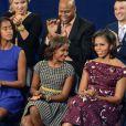 Sasha, Malia, Michelle et Barack Obama lors de la convention nationale du Parti démocrate au Times Warner Cable Arena de Charlotte le 6 septembre 2012