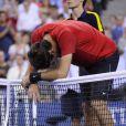 Juan Martin Del Potro après sa défaite face à Novak Djokovic le 6 septembre 2012 à New York en quart de finale de l'US Open