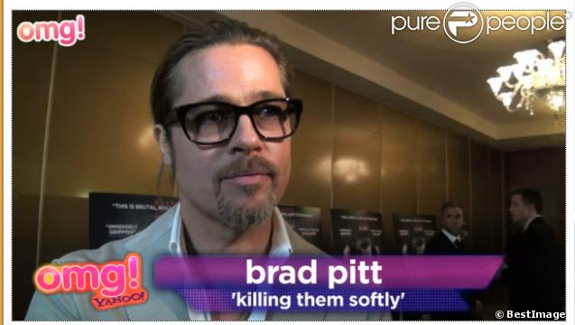 Brad Pitt s'exprime au micro de Yahoo.co.uk lors de la présentation de Cogan - Killing Them Softly à Londres le 6 septembre 2012