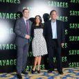 John Travolta, Salma Hayek et Oliver Stone présentent  Savages  à Paris le 14 septembre 2012.