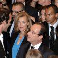 Valérie Trierweiler et François Hollande rencontrent les expatriés français à New York, le 25 septembre 2012.
