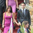 Cesc Fabregas et Daniella Semaan au mariage d'Andrès Iniesta et Anna Ortiz à Tarragon le 8 juillet 2012