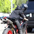 L'ex de Selena Gomez Justin Bieber sur sa moto Ducati le 14 novembre 2012 à Los Angeles.