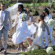 Jean-Luc Delarue et Anissa Khel le jour de leur mariage le 12 mai 2012 à Sauzon.