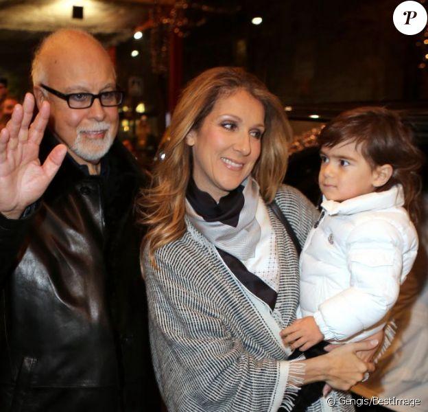 Céline Dion quitte le magnifique George V à Paris avec son mari René Angélil et ses enfants, René-Charles, Nelson et Eddy, le 30 novembre 2012.