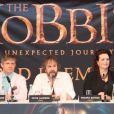 Le réalisateur du film Peter Jackson et son cast en conférence de presse à Wellington, le 28 novembre 2012.