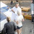 Laeticia Hallyday et Johnny sur le tournage de la pub Optic 2000