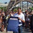 Zlatan Ibrahimovic lors de sa présentation officielle au Trocadéro à Paris devant une foule venue nombreuse acclamée la star, le 18 juillet 2012