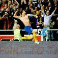 Zlatan Ibrahimovic lors de la victoire historique de la Suède sur l'Angleterre pour le premier match à la Friends Arena de Stockholm le 14 novembre 2012, match au cours duquel le Suédois inscrira un retourné de 35 mètres
