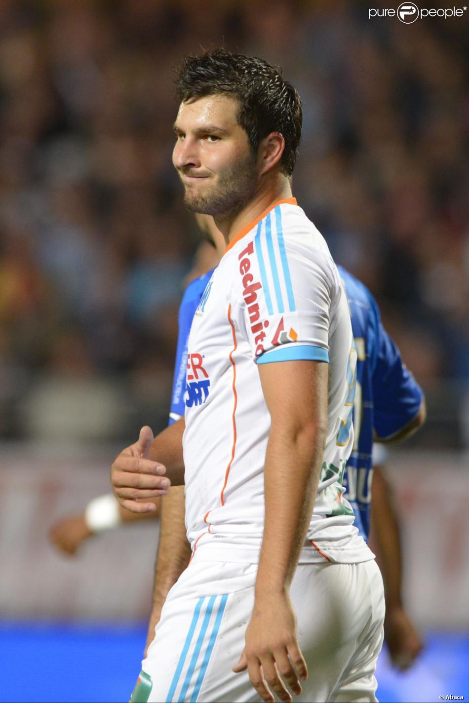 André-Pierre Gignac lors du match entre Troyes et l'Olympique de Marseille au Stade de l'Aube à Troyes le 21 octobre 2012