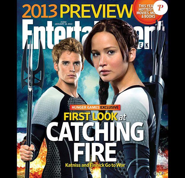 Jennifer Lawrence et Sam Claflin dans la peau de Katniss et Finnick de Hunger Games 2 pour la couverture d'Entertainment Weekly