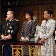 La famille princière de Monaco : Le prince Albert II, la princesse Charlene de Monaco, la princesse Caroline de Hanovre et la princesse Stephanie de Monaco dans la cathedrale Notre-Dame-Immaculee de Monaco le jour de la fete nationale le 19 novembre 2012.
