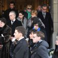 Obsèques de Jacki Clerico, ancien directeur historique du Moulin Rouge, en l'église Saint-Pierre à Neuilly-sur-Seine, le 18 janvier 2013, en présence de la famille, de Michou, Yvan Zaplatilek et Mireille Mathieu.