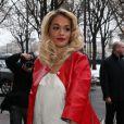 La chanteuse Rita Ora à son arrivée au défilé Chanel le 22 janvier 2013 au Grand Palais