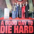 John Moore, Jai Courtney, Bruce Willis, Julia Snigir et Rasha Bukvic pour les 25 ans de Die Hard à Los Angeles, le 31 janvier 2013.