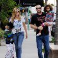 Heidi Klum, son chéri Martin Kristen et ses deux enfants Johan et Lou se rendent au Starbucks dans le quartier de Brentwood. Los Angeles, le 2 février 2013.