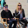 Heidi Klum et le photographe Enrique Badulescu en plein tournage d'une séquence pour l'émission Germany's Next Topmodel à Venice Beach. Le 1er février 2013.
