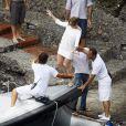 Jennifer Lopez et Marc Anthony en amoureux à Portofino. Difficile la montée sur le bateau !