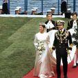 Le roi Carl XVI Gustaf de Suède et la reine Silvia lors de leur mariage, le 19 juin 1976 à Stockholm.