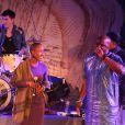 Exclusif :La chanteuse Rokia Traore - Soiree de solidarite pour le Mali a l'Unesco a Paris. Le 18 fevrier 2013