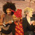 Exclusif : Inna Modja, Angelique Kidjo (Ambassadrice de bonne volonte de l'Unicef) et Irina Bokova (Directrice generale de l'Unesco) - Soiree de solidarite pour le Mali a l'Unesco a Paris. Le 18 fevrier 2013