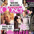 Couverture de Closer qui annonce qu'Hélène Rollès a adopté deux enfants. En kiosques depuis le 23 février 2013.