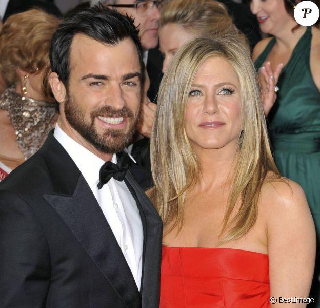 Jennifer Aniston et Justin Theroux lors de la 85e cérémonie des Oscars le 24 février 2013
