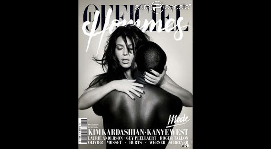 Kim Kardashian et Kanye West font la couverture de L'Officiel Hommes pour le printemps 2013.