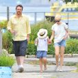 Michelle Williams avec sa fille Mathilda et Jason Segel à New York le 14 juillet 2012