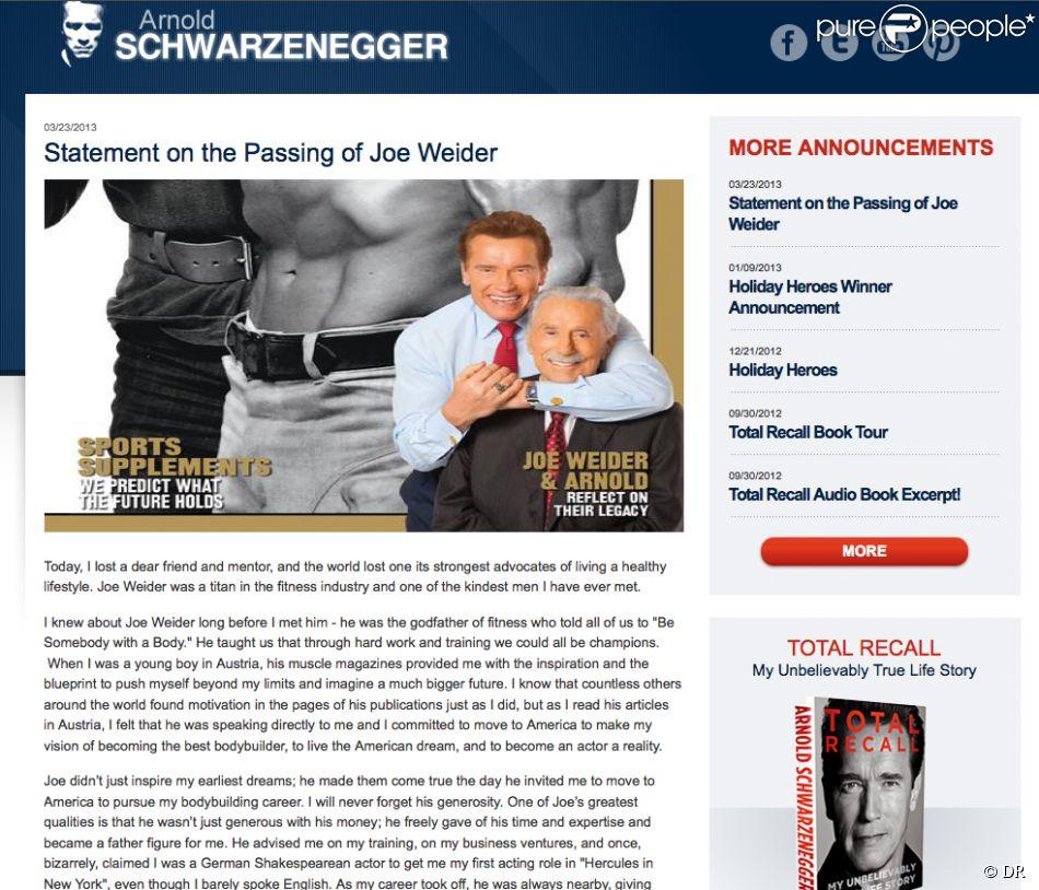 Arnold Schwarzenegger, via son site Internet, a partagé avec émotion ses souvenirs de Joe Weider, parrain du fitness mort le 23 mars 2013 à 93 ans.