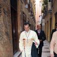 Antonio Banderas en costume traditionnel lors de la procession de la semaine sainte de Pâques à Malaga en Espagne le 24 mars 2013