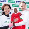 Aïda Touihri et Miss France 2013 Marine Lorphelinau marathon de Paris le dimanche 7 avril 2013 pour courir sous les couleurs de Mécénat Chirurgie Cardiaque