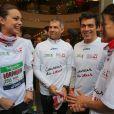Marine Lorphelin, Paul Belmondo et Taïg Khris au marathon de Paris le dimanche 7 avril 2013 pour courir sous les couleurs de Mécénat Chirurgie Cardiaque