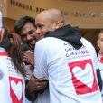 Marc Raquil et Satya Oblette au marathon de Paris le dimanche 7 avril 2013 pour courir sous les couleurs de Mécénat Chirurgie Cardiaque