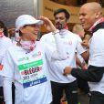 Marc Raquil, Satya Oblette et Laëtitia Bléger  au marathon de Paris le dimanche 7 avril 2013 pour courir sous les couleurs de Mécénat Chirurgie Cardiaque
