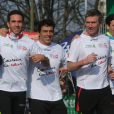 Philippe Caroit et Taïg Khris au marathon de Paris le dimanche 7 avril 2013 pour courir sous les couleurs de Mécénat Chirurgie Cardiaque