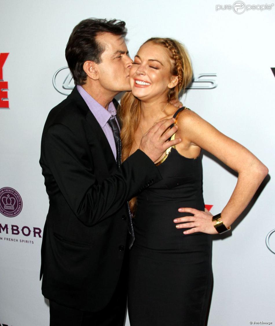 Lindsay Lohan et Charlie Sheen à la première de  Scary Movie 5  à Hollywood, le 11 avril 2013.
