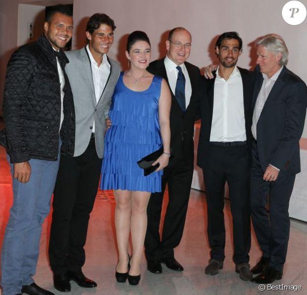 Jo-Wilfried Tsonga, Rafael Nadal, Mélanie-Antoinette Costello de Massy, Albert II de Monaco, Fabio Fognini et Björn Borg. Soirée La grande nuit du tennis lors du Rolex Masters de Monte-Carlo, le 19 avril 2013