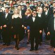 Nicole Kidman main dans la main avec Tom Cruise et Ron Howard au Festival de Cannes 1992.