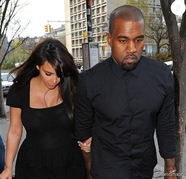 Les futurs parents Kim Kardashian et Kanye West surpris à New York, le 24 avril 2013.