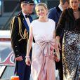 La princesse Mabel arrivant au Muziekgebouw Aan't IJ pour le banquet final de l'intronisation du roi Willem-Alexander des Pays-Bas, après la parade aquatique sur l'IJ, le 30 avril 2013 à Amsterdam.