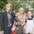 Sophie Davant et ses enfants Nicolas et Valentine en 2008 à Paris