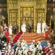 Pour la première fois depuis 17 ans, le prince Charles de Galles, accompagné de son épouse Camilla Parker Bowles, secondait sa mère la reine Elizabeth II lors de l'ouverture cérémonielle du Parlement, à Westminster, le 7 mai 2013.