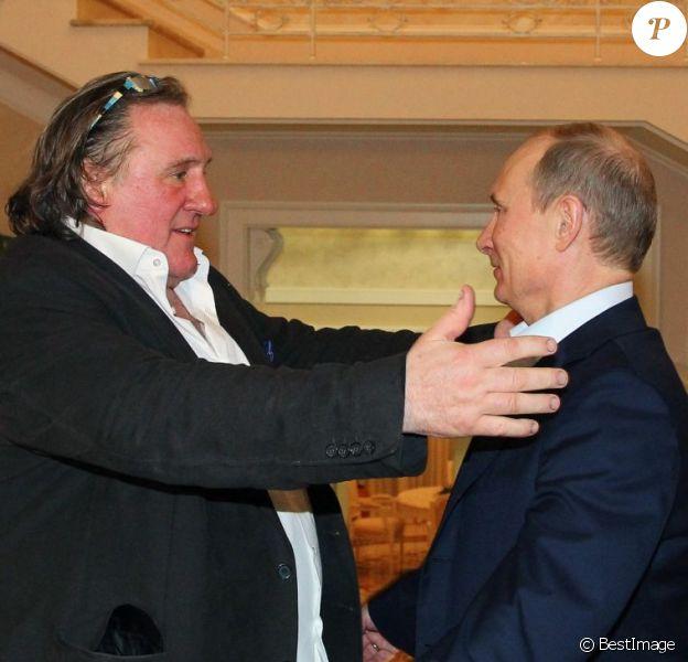 Gérard Depardieu reçu par Vladimir Poutine à Sotchi le 5 janvier 2013.
