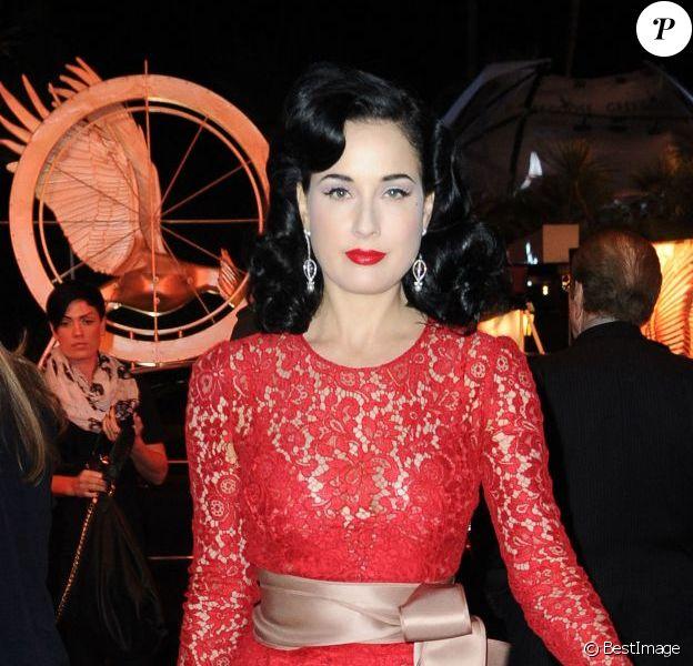Dita Von Teese lors du 66e Festival du Film de Cannes 2013 - La déesse arrive au Nikki Club pour un showcase.