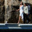Heidi Klum, logée à l'hôtel du Cap-Eden-Roc, arrive par bateau à Cannes pour sa montée des marches. Le 23 mai 2013.